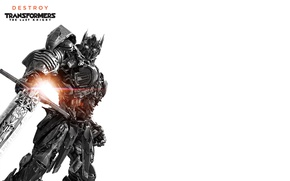Picture fiction, sword, white background, black and white, poster, Optimus Prime, Transformers: The Last Knight, Transformers: …