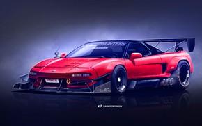 Picture Red, Auto, Machine, Honda, Art, Supercar, Rendering, NSX, Japanese, Honda NSX, Yasid Design, Yasid Oozeear, …