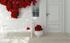 Wallpaper flowers, roses, interior, the door, red, vase, decor