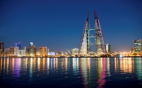 Picture city, lights, sky, sea, night, buildings, architecture, skyscrapers, cityscape, Bahrain, Manama