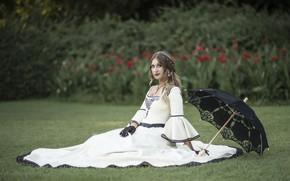 Wallpaper bokeh, dress, girl, gloves, umbrella