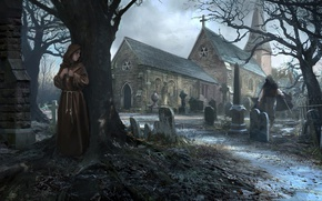 Wallpaper tree, killer, church, Crypts, monk, graves