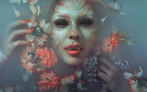 Picture water, flowers, face, model, makeup, vampire