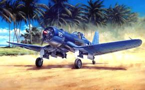 Wallpaper USMC, piston, WW2, painting, fighter, US NAVY, F4U-1A Corsair, Chance Vought