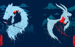 Picture anime, art, silhouettes, Mononoke