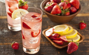 Picture ice, glass, berries, lemon, strawberry, drink, lemonade