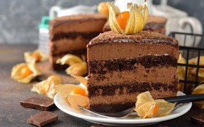 Picture chocolate, cake, decoration, cream, dessert, a piece of cake