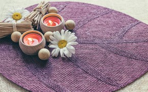 Picture flowers, chamomile, candles, Mat