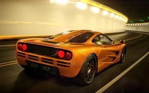 Picture Auto, Machine, Orange, The tunnel, Art, Supercar, Mclaren, Mclaren f1, Colorsponge Carlos