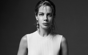 Picture decoration, background, portrait, makeup, dress, actress, hairstyle, black and white, Michelle Monaghan, Michelle Monaghan, photoshoot, ...