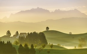 Picture trees, mountains, nature, fog, home, Switzerland