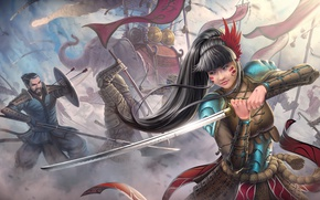 Picture girl, war, elephant, sword, katana, warrior, art, spear, battle, arrows, Asian