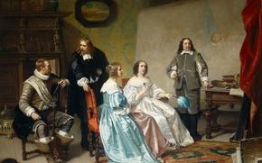 Picture tree, oil, picture, genre, Hendrik Jacobus Scholten The, Princess Of Orange Visiting The Studio