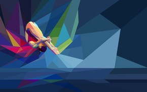 Picture sport, athlete, low poly, diving