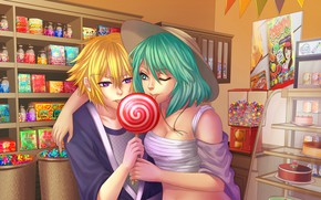 Picture girl, Guy, Sweets, Shop