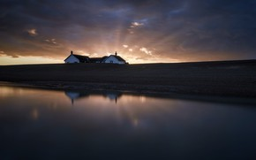 Picture sunset, house, shore