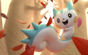 Picture autumn, leaves, rendering, anime, art, Andre Wahl, Pachirisu
