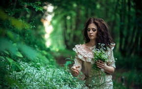 Picture greens, grass, girl, trees, flowers, bouquet, makeup, dress, brunette, hairstyle, bokeh, in the woods, collects