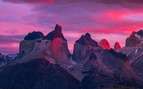 Picture mountains, top, glow, peak, Chile, Torres del Paine