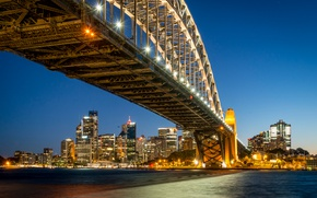 Picture bridge, lights, Strait, home, the evening, Australia, lights, Sydney, promenade