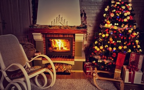 Wallpaper New Year, Christmas, fireplace, merry christmas, interior, decoration, christmas tree, holiday celebration