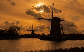 Picture the evening, channel, Netherlands, windmill, Kinderdijk