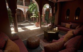 Picture palm trees, hookah, furniture, the room, Moroccan Courtyard