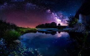 Wallpaper the sky, stars, night, bridge, river, the milky way