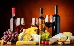 Picture wine, glasses, grapes, knife, tube, bottle, plug, tomatoes, corkscrew, cheese