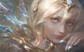 Wallpaper League of Legends, face, lux, light, girl, light