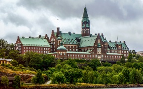 Picture trees, river, shore, Stockholm, Sweden, Palace