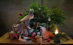 Picture winter, toys, tree, new year, Christmas, mouse, gifts, still life, December, author toy, Bunny Tilda, …