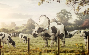 Picture nature, cow, dinosaur, art, Triceratops