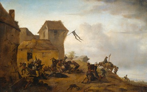 Picture oil, picture, canvas, Philips Bowerman, The fight of the Peasants in the Village
