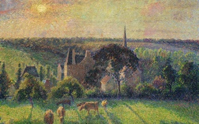 Picture sunset, hills, picture, cows, meadow, Camille Pissarro, Landscape at Eragny