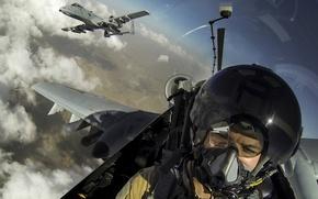 Wallpaper sky, aircraft, military, cloud, man, pilot, pearls, uniform, Fairchild Republic A-10 Thunderbolt II, bomb, seifuku, ...