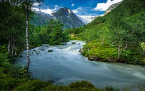 Wallpaper summer, trees, river, mountains, Norway