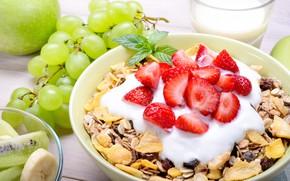 Picture Apple, Breakfast, kiwi, strawberry, grapes, fruit, banana, mint, muesli, yogurt