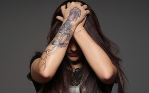 Picture girl, background, tattoo