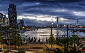 Picture the sky, clouds, bridge, lights, home, the evening, Australia, Bay, Melbourne