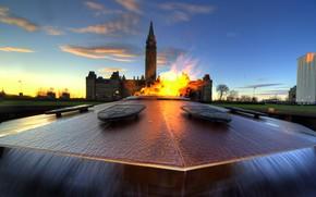 Picture tower, Canada, fountain, Parliament, eternal flame, Ottawa