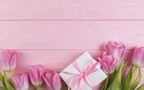 Wallpaper flowers, gift, bouquet, tulips, love, pink, fresh, wood, pink, flowers, romantic, tulips, gift, spring, with ...