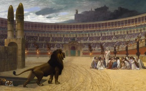 Wallpaper Jean-Leon Gerome, Leo, mythology, The Last Prayer Of The Christian Martyrs, Colosseum, picture