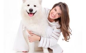 Picture husky, joy, sweater, girl, smile, dog
