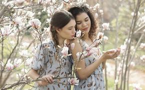 Picture girls, spring, garden, Magnolia