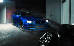 Wallpaper GTR, Nissan, Blue, R34