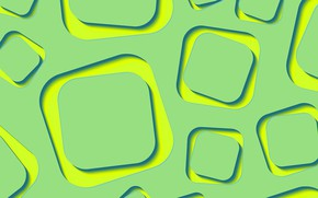 Picture abstraction, green, wallpaper, yellow, lime, shapes, abstract 3D