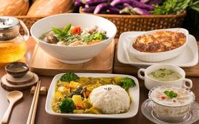 Picture tea, soup, figure, vegetables, salad, cuts