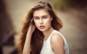 Picture pose, background, model, portrait, makeup, hairstyle, brown hair, in white, bokeh, Alek, Lods Franck