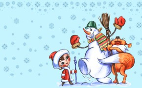 Picture winter, snow, joy, snowflakes, mood, holiday, figure, art, New year, maiden, snowman, Fox, friends, children's